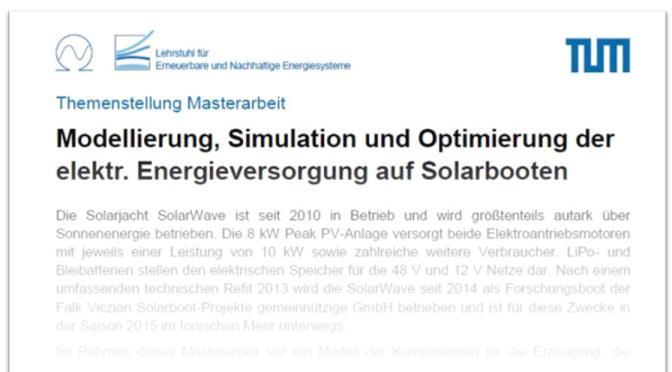 Ausschreibung der Masterarbeit 'Modellierung, Simulation und Optimierung der elektrischen Energieversorgung auf Solarbooten'