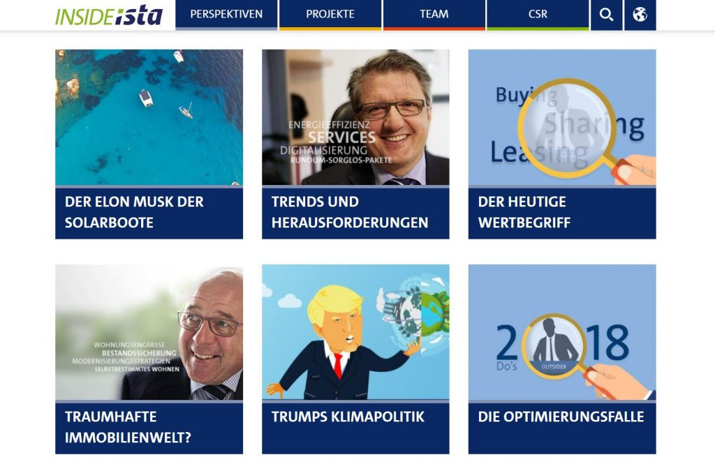 """Bildschirmkopie der Webseite Perspektiven von Insideista mit einer Übersicht verschiedener Artikel inklusive der Vorschau auf """"Der Elon Musk der Solarboote"""", © Insideista"""