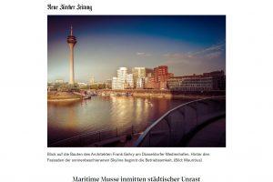 Blick auf die Bauten des Architekten Frank Gehry am Düsseldorfer Medienhafen. (C) NZZ. Ausschnitt einer Bildschirmkopie der Druckaufbereitung des NZZ Artikels